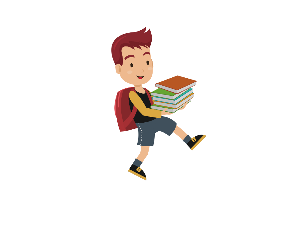 The boy is carrying books